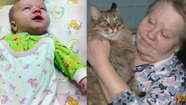 Как кошка Маша спасла малыша, которого бросили замерзать в подвале...