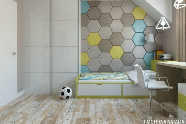 Мягкие панели в интерьере детской комнаты A&E
